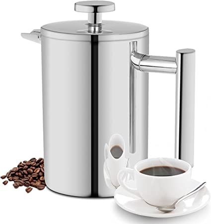 350ML French Press, Double Wall Insulated 18 10 Stainless Steel Coffee Maker, 12oz