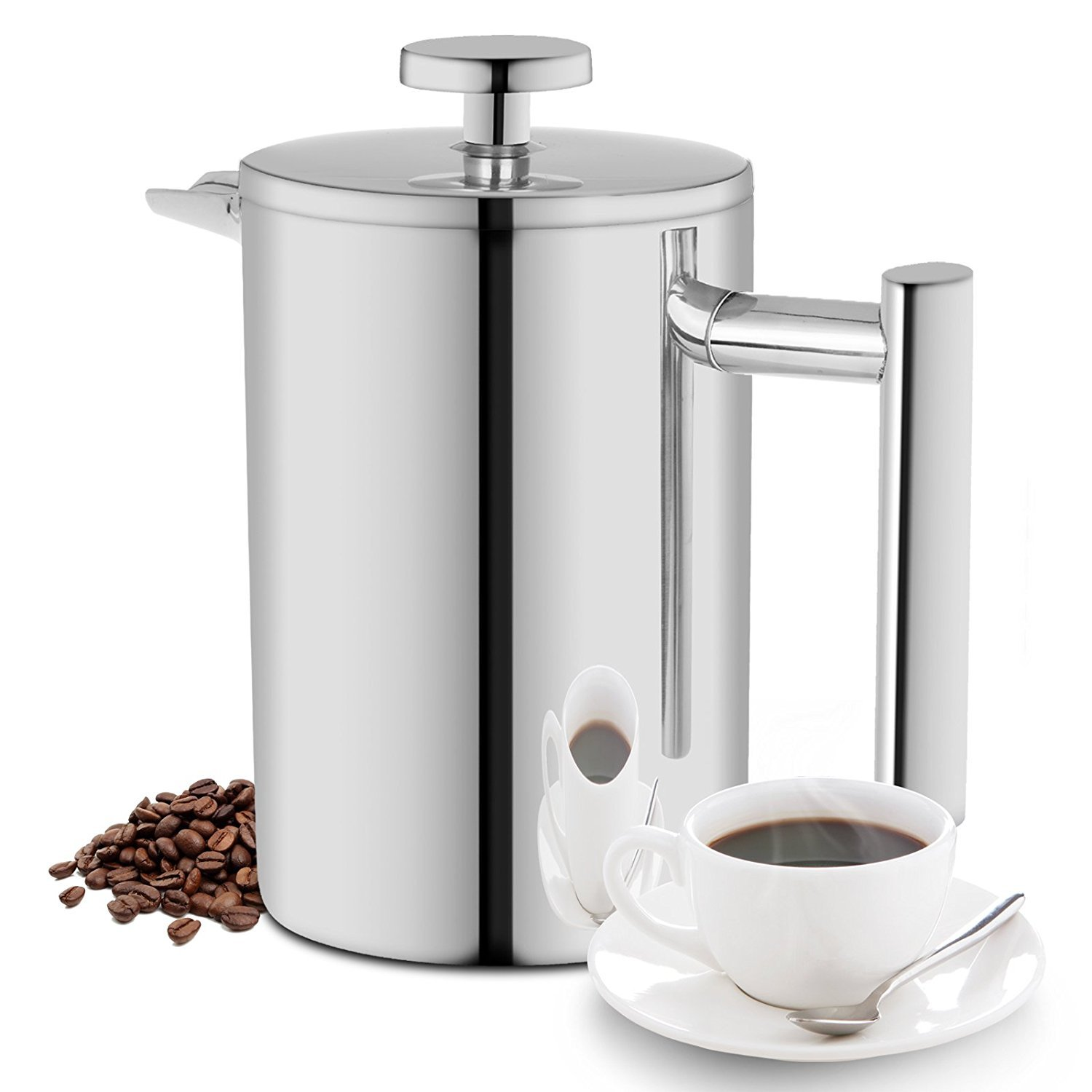 ALLWIN HOUSEWARE 350ML French Press, Double Wall Insulated 18/10 Stainless Steel Coffee Maker, 12oz