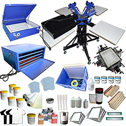 Amazon com: 3 Color 4 Station Screen Printing Press KIt T