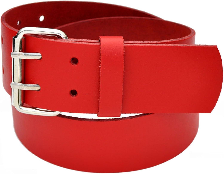 115cm Bundweit Leder Guertel Belt BRAUN 6cm Breit 2 Dorn Roll Schnalle