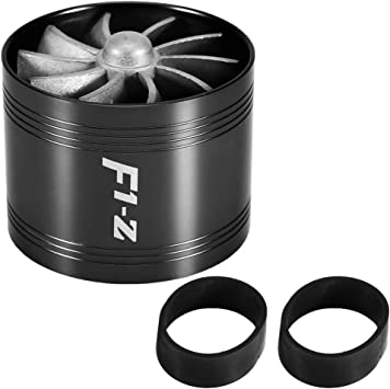 Keenso 2.2//55mm Car Aluminum Alloy Air Intake Turbonator Single Fan Turbine Super Charger Gas Fuel Saver Turbo Charger