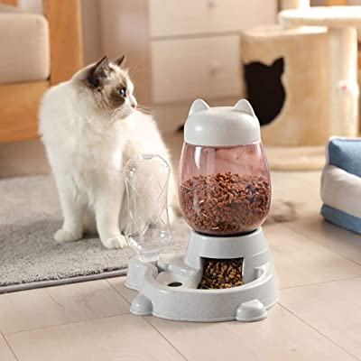 Double Automatic Dog and Cat Bowl with Water Dispenser Healthy Pet Gravity Dog and Cat Food Station Automatic Feeder (Gray): Arts, Crafts & Sewing