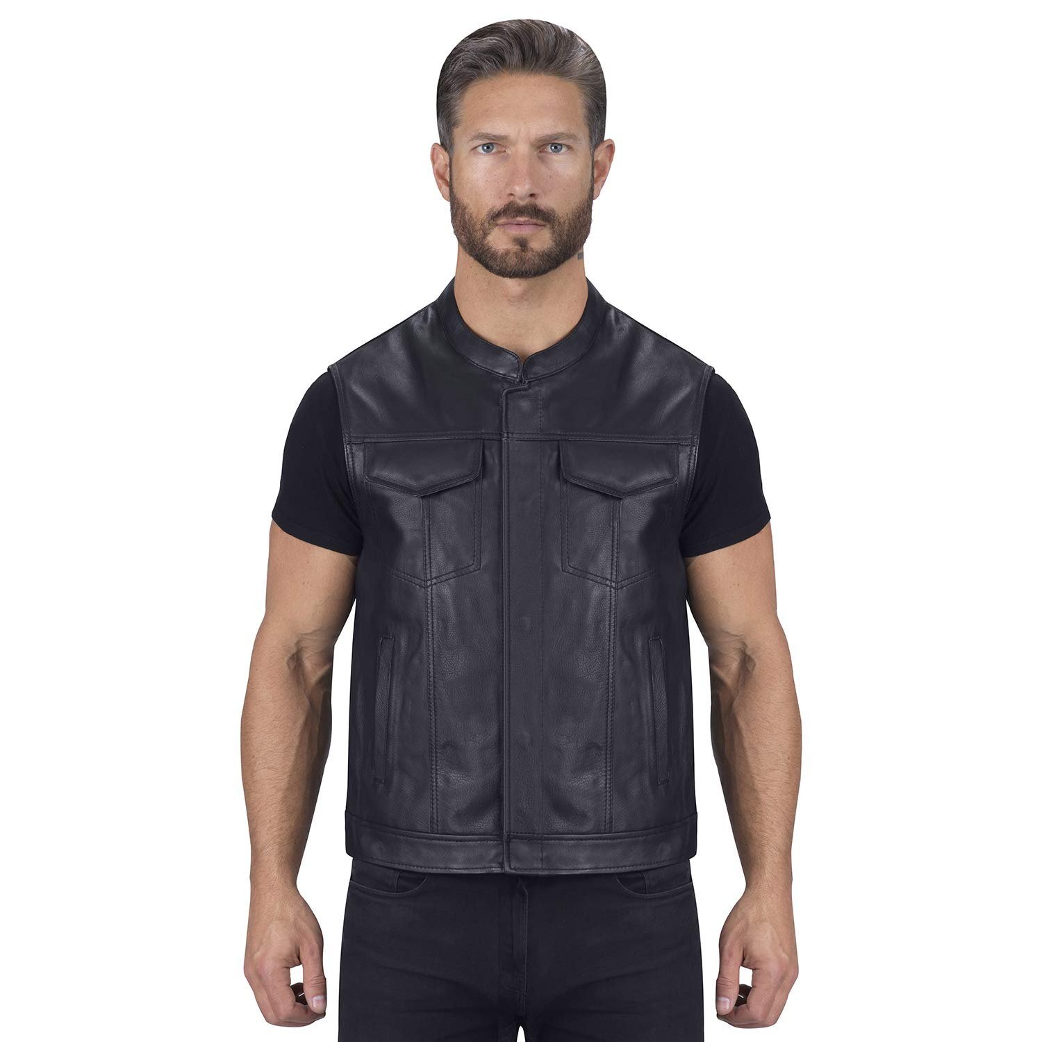 Viking Cycle Gardar Motorcycle Leather Vest for Men (X-Small) Black by Viking Cycle