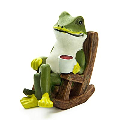 Garden Ornament Miniature Frog Statue Frog Figurine Resin Gnome Outdoor Garden Frog Sculptures Ornaments 2.56 Inch for Fairy Garden Decoration