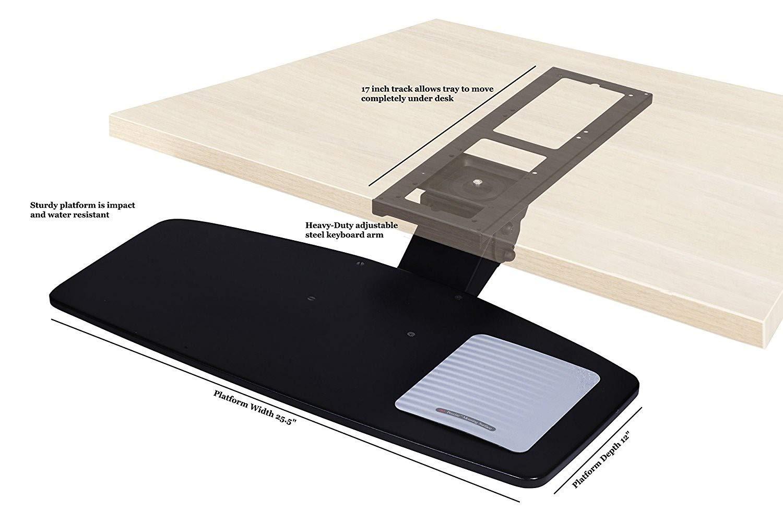 Adjustable Under Desk Keyboard Tray by NYCCO, Water-Resistant Platform, 17-inch Track Knob Adjust - Black by NYCCO (Image #3)