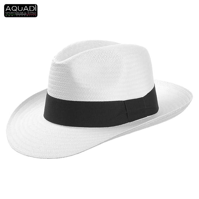 Panarea cappello tipo Borsalino in paglia by AQUADì - Bianco 49f59abb6f9b