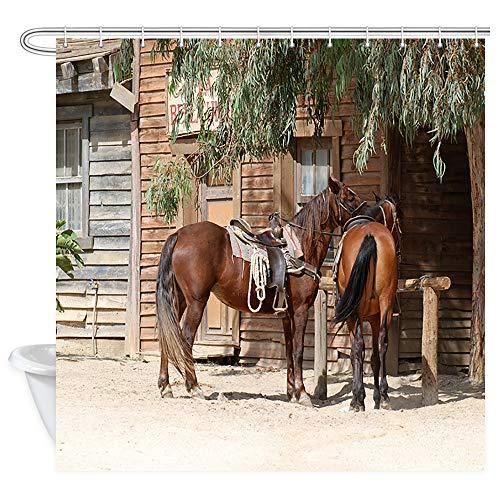 - DYNH Horse Shower Curtain, Rustic Farm Animals in Traditional American Western Town Scenery Bath Curtain, Rustic Wooden Farmhouse Shower Curtain for Bathroom 12PCS Hooks, Bathtub Curtain 69X70 in