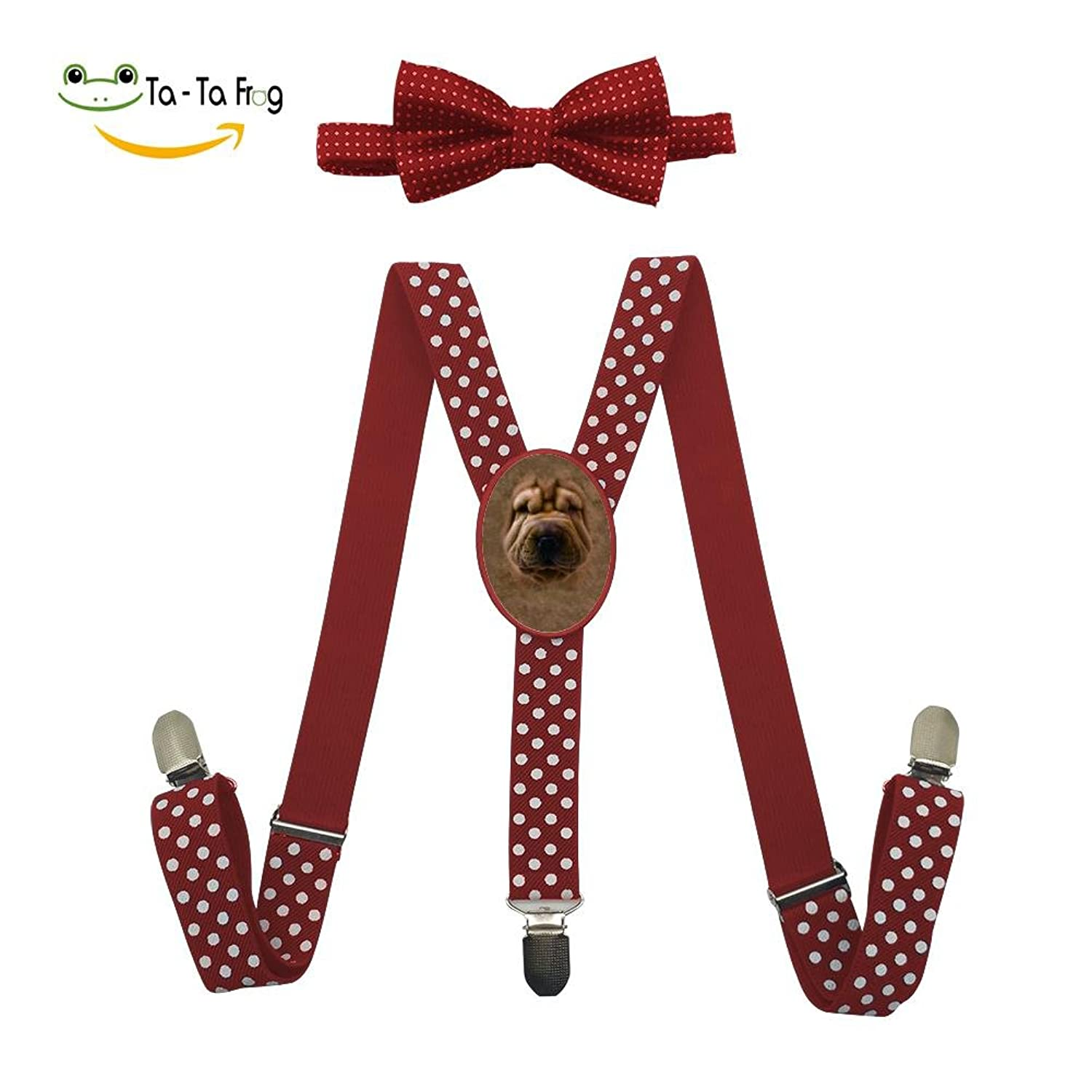 hot sell Big Face Shar Pei Puppy Adjustable Suspenders And Pre-Tied Bowtie Set For Kids Casual And Formal for sale
