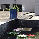 LATITOP 1.8W Solar Fountain Free Standing Floating, Submersible Solar Water Pump with 4 Sprinkler Heads for Different Water Flows, Perfect for Bird Bath, Small Pond and Water Circulation (12FT Cord)