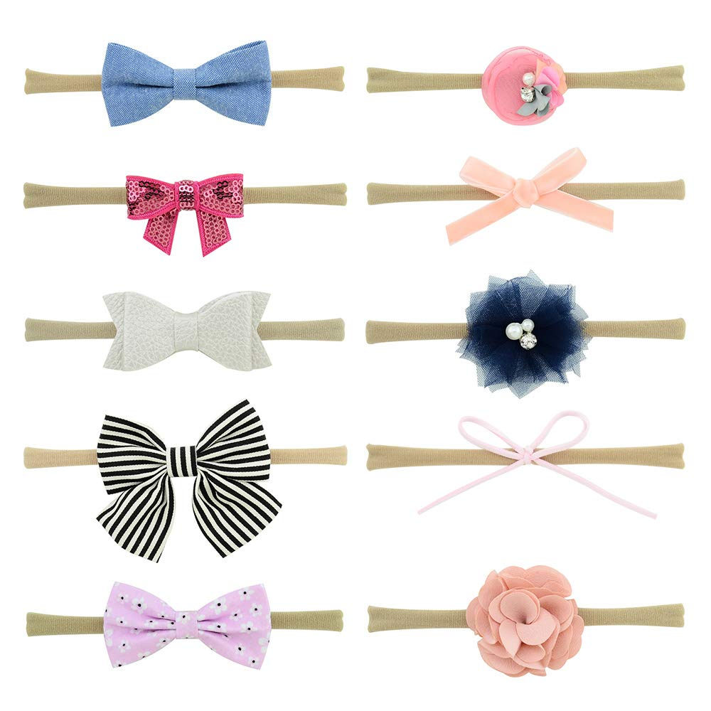 Newborn Infant Toddler Hair Accessories YHXX YLEN 10 Pcs Baby Girl Headbands and Bows Style 2