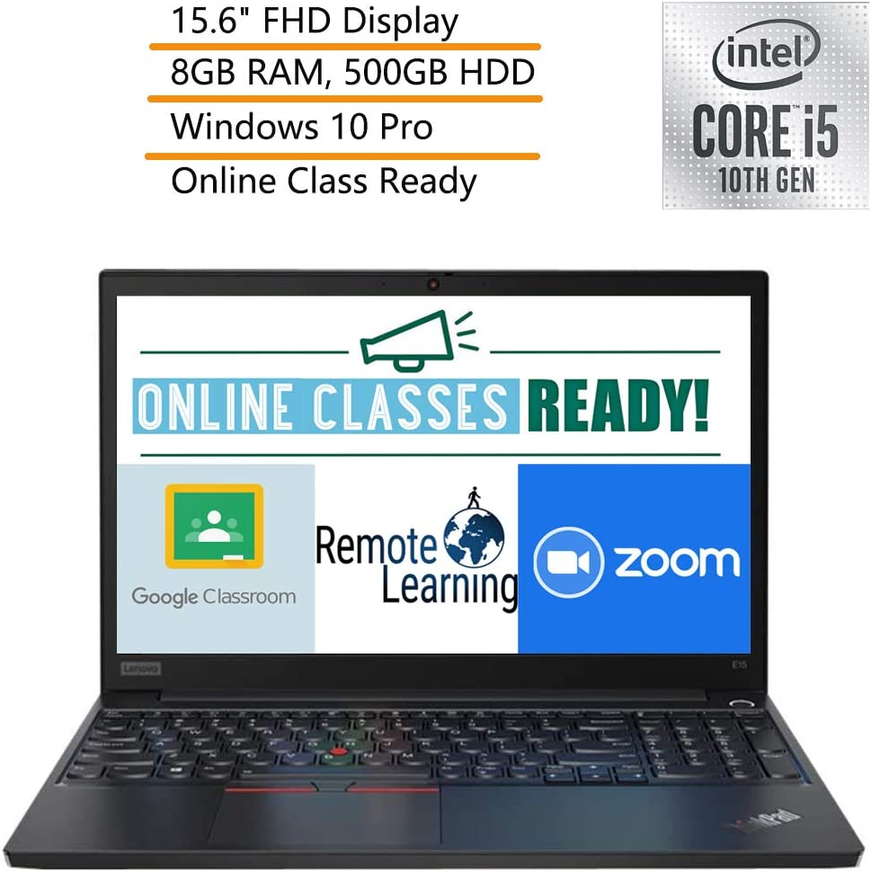 "2020 Lenovo ThinkPad E15 15.6"" FHD Business Laptop Computer, 10th Gen Intel Quad-Core i5-10210U, 8GB DDR4 RAM, 500GB HDD, Windows 10 Pro, iPuzzle DVD Extension, Webcam, Microphone, Online Class Ready"
