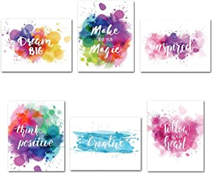 Colorful Abstract Inspirational Wall Art Prints Inspirational Phrases Quote Home Wall Art Art For Classroom Office Home Decor-(Unframed) - Set of 6 (8x10) (8x10 inch x 6pcs No frame)