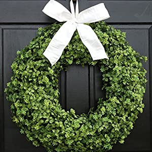 Spring Boxwood Wreath for Front Door Decor; Summer Year Round Everyday Artificial Greenery Decoration; Small - Extra Large Sizes; Indoor/Outdoor 31