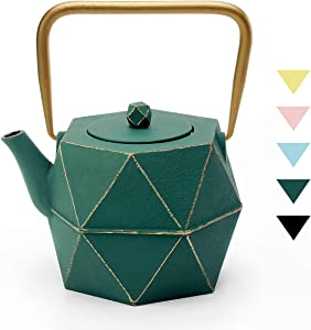 Tea Kettle, TOPTIER Japanese Cast Iron Teapot with Stainless Steel Infuser, Cast Iron Tea Kettle Stovetop Safe, Diamond Design Teapot Coated with Enameled Interior for 40 oz (1200 ml), Green