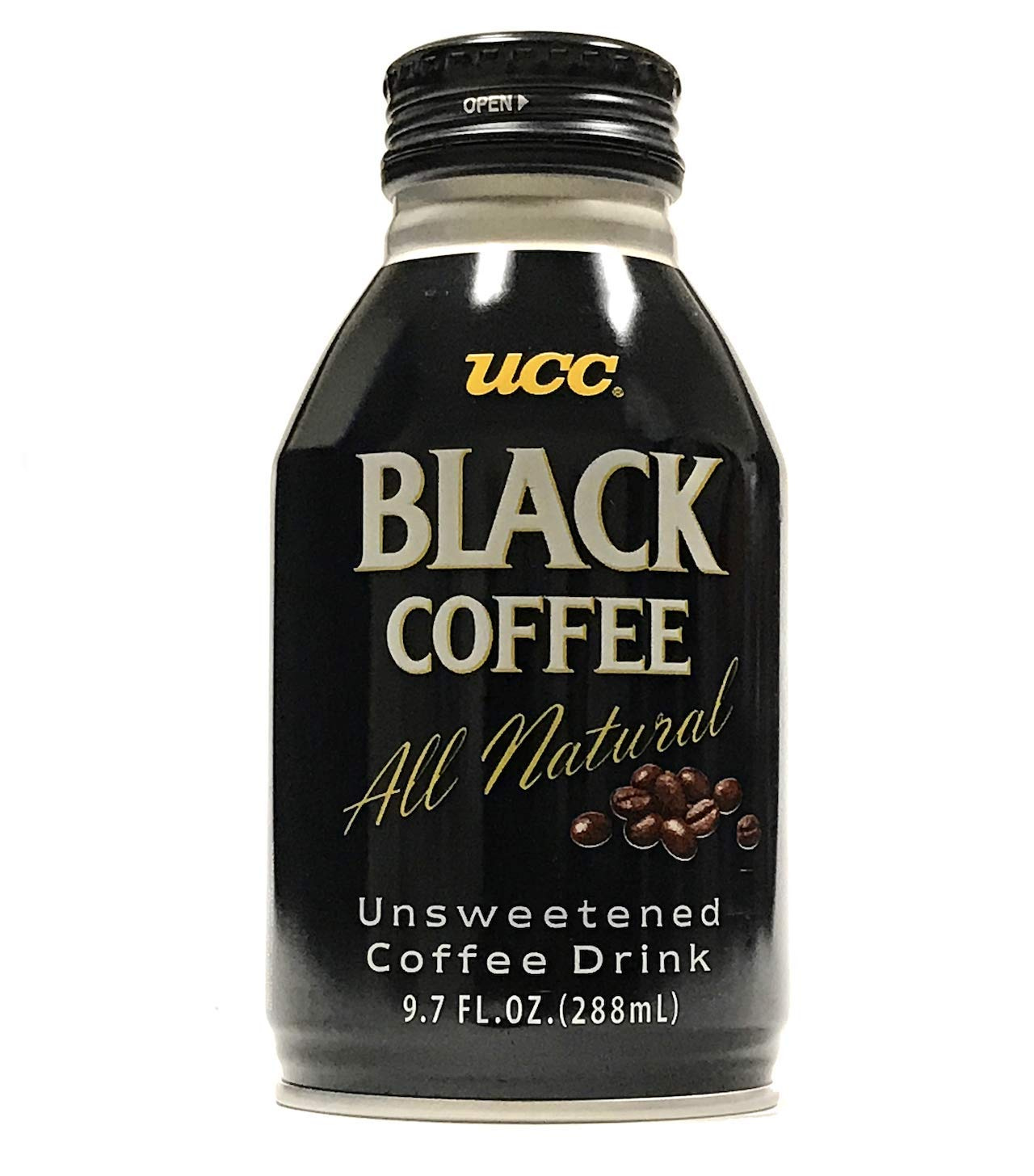 UCC Black Coffee, All Natural, Zero Sugar, Zero Calories - 9.73 Fl Oz   Pack of 24