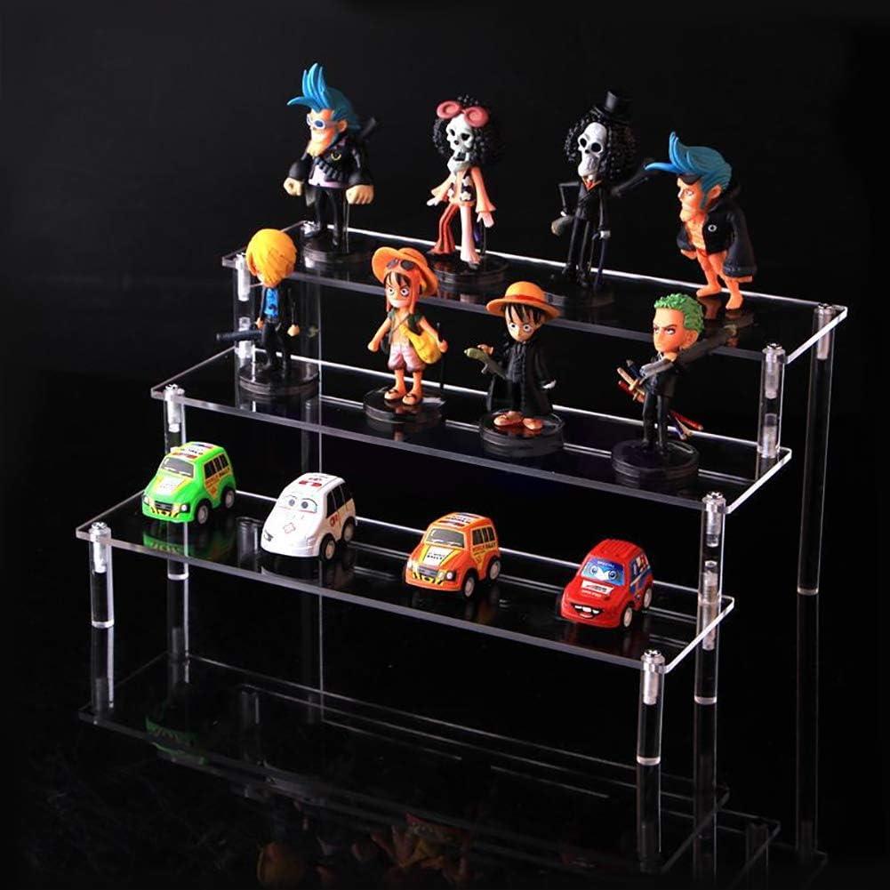 Elevadores 20x15cm WxH Individual Soporte de Exhibici/ón de Escritorio kowaku Estante de Acr/ílico Transparente de 3 Niveles Modelo de Juguete