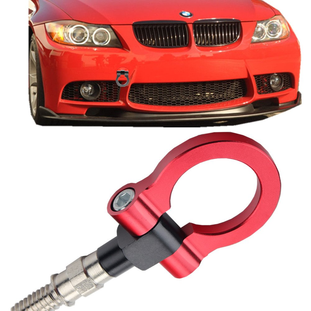 JGR Track Racing Style Tow Hook Towing Eye CNC Aluminum Screw On Front Rear Bumper For BMW 3 Series E36 E46 E90 E91 E92 E93 318 320 323 325 328 330 335 M3 1992 to 2012 Gold