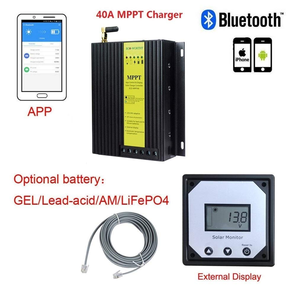 AGM and Lead-acid Battery Compatible with Bluetooth Module for iPhone APP on Caravan Gel ECOWORTHY 40A 12V 24V Auto MPPT Solar Charge Regulator Controller Tracer with LCD Display for Lithium