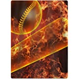Cool Fire Playing Baseball 100% Polyester Teenagers Beach Towels Unisex Bath Towel