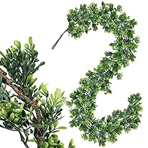 "WINDIY SUPLA 6.6' Long 4.3"" Wide Artificial Boxwood Greenery Garland Faux Boxwood Greenery Garland String Hanging Boxwood Twigs Vine Garland Table Runner for Spring Weddings Indoor Outdoor Décor 111"