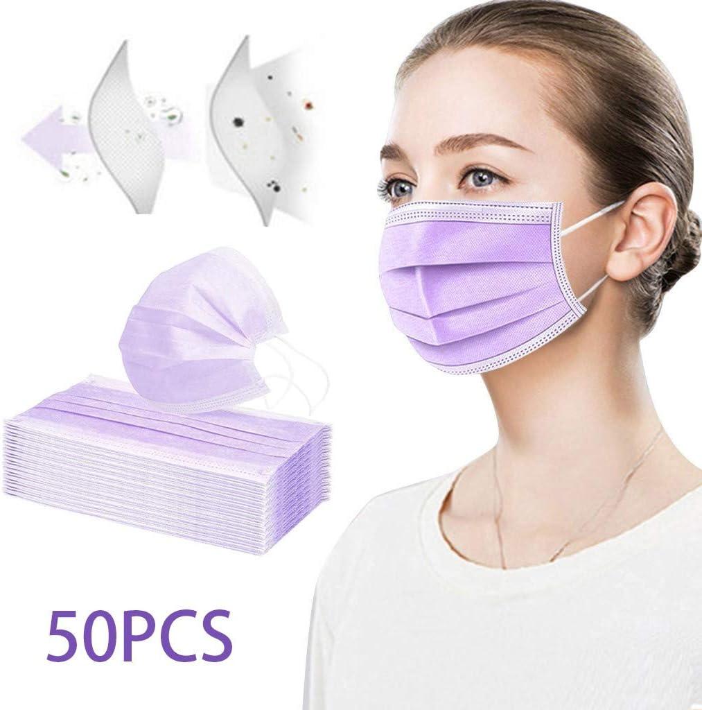 Adulto Protecci/ón 3 Capas Transpirables con El/ástico para Los O/ídos Pack 50 Unidades y p/úrpura,para Prueba de Polvo,Correr,Actividades al Aire libreda para