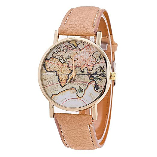 SKY Moda mujer mapa del mundo correa de cuero analógico cuarzo reloj de pulsera Leather Strap Analog Quartz Wrist Watch (Beige): Amazon.es: Relojes