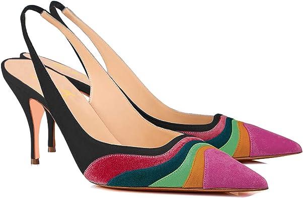 details for sells official Amazon.com | FOWT Women Slingback Heels Pumps Low Kitten Heel Pump ...