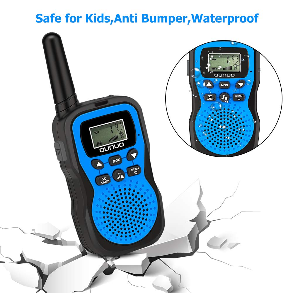 OUNUO Kids Walkie Talkies, 4 Miles Range Walkie Talkies for Kids 22 Channels 10 Customized Ringtones with Flashlight for Outdoors Good Parenting Toys - 1 Pair by OUNUO (Image #3)