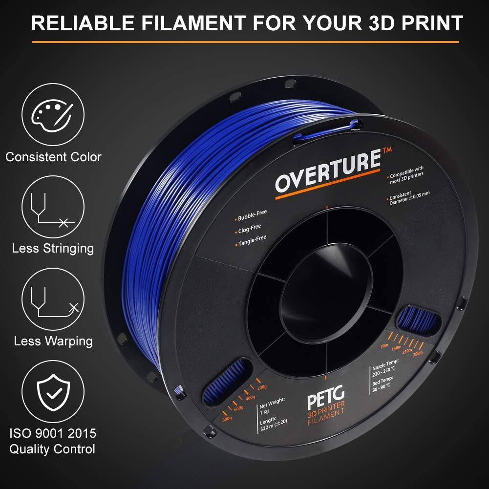 Fit Most FDM Printer OVERTURE PETG Filament 1.75mm with 3D Build Surface 200 x 200 mm 3D Printer Consumables 1kg Spool 2.2lbs Gold Dimensional Accuracy +//- 0.05 mm
