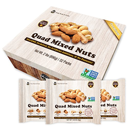 Healthy Quad Mix Multipack UNSALTED, No Additives, Dry Roasted, Premium Nuts, NON -GMO ()