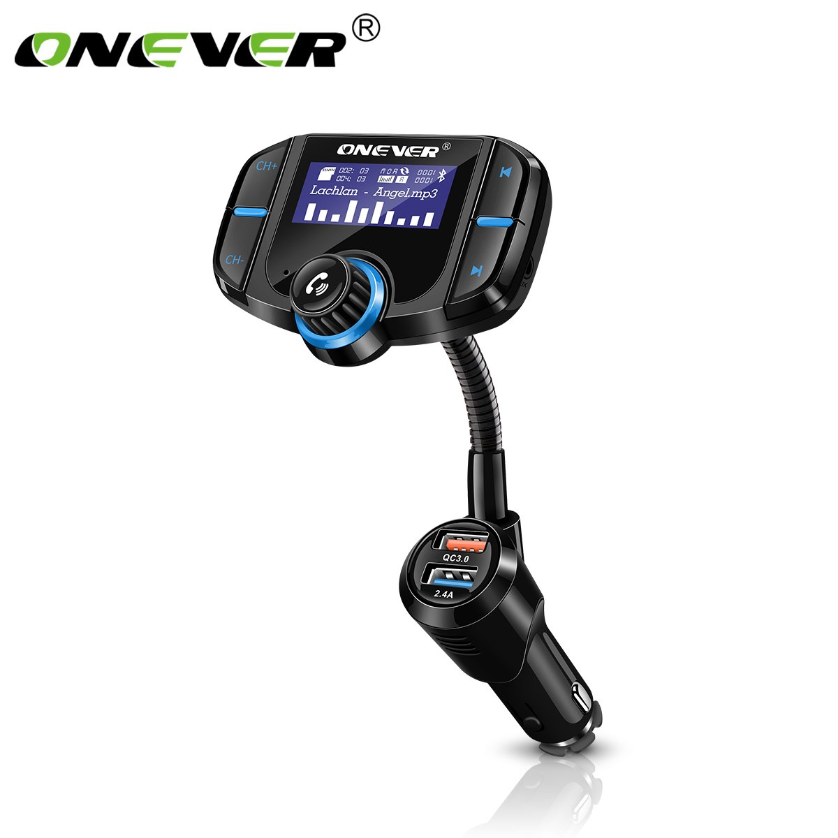 DDSKY ONEVER BT70 Rotatable Bluetooth Car Kit FM Transmitter MP3 Player Modulator with QC3.0 Dual USB Car Charger Qualcomm Fast Charge Support for SIRI/TF Card/AUX in/Out with Voltmeter DC 12/24V