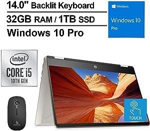 2020 HP Pavilion X360 14 Inch FHD 1080P Touchscreen 2-in-1 Laptop, Intel Core i5-10210U (Beats i7-7500U), 32GB RAM, 1TB SSD, Backlit KB, Win10 Pro + NexiGo Wireless Mouse Bundle