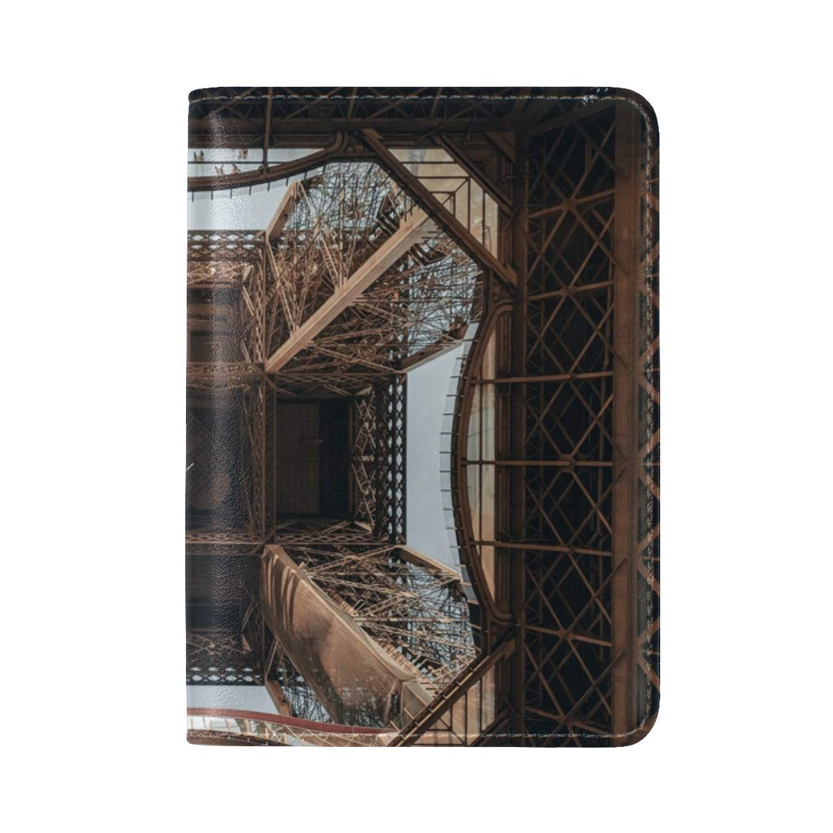 Eiffel Tower Tower Construction Leather Passport Holder Cover Case Travel One Pocket