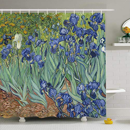 Ahawoso Shower Curtain 72x78 Inches Gogh Painting Irises by Vincent Van Holland Oil Flower Dutch Floral Garden Design 19Th Waterproof Polyester Fabric Set with Hooks