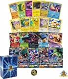 100 Count Pikachu, Eevee and Friends Lot! Featuring 3 Pikachus! 1 GX and 1 EX Ultra Rare! Foils and Holos! Comes with Coin, Includes Golden Groundhog Deck Box.