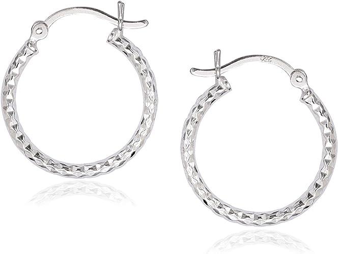 Sterling Silver Hoops Earrings Diamond Cut30mm New