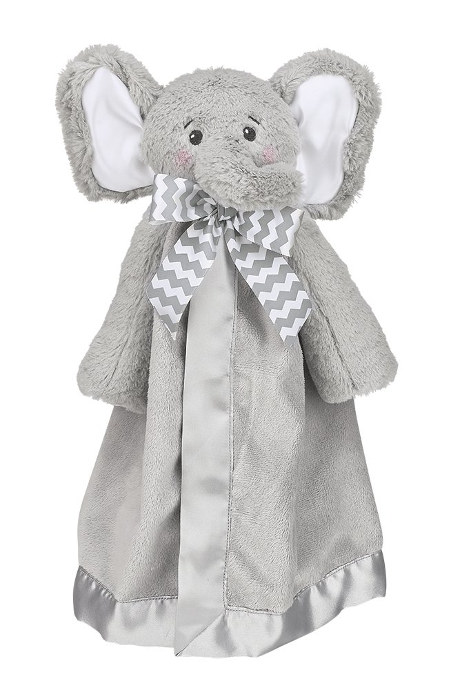 Bearington Baby Lil' Spout Snuggler, Gray Elephant Plush Stuffed Animal Security Blanket, Lovey 15''
