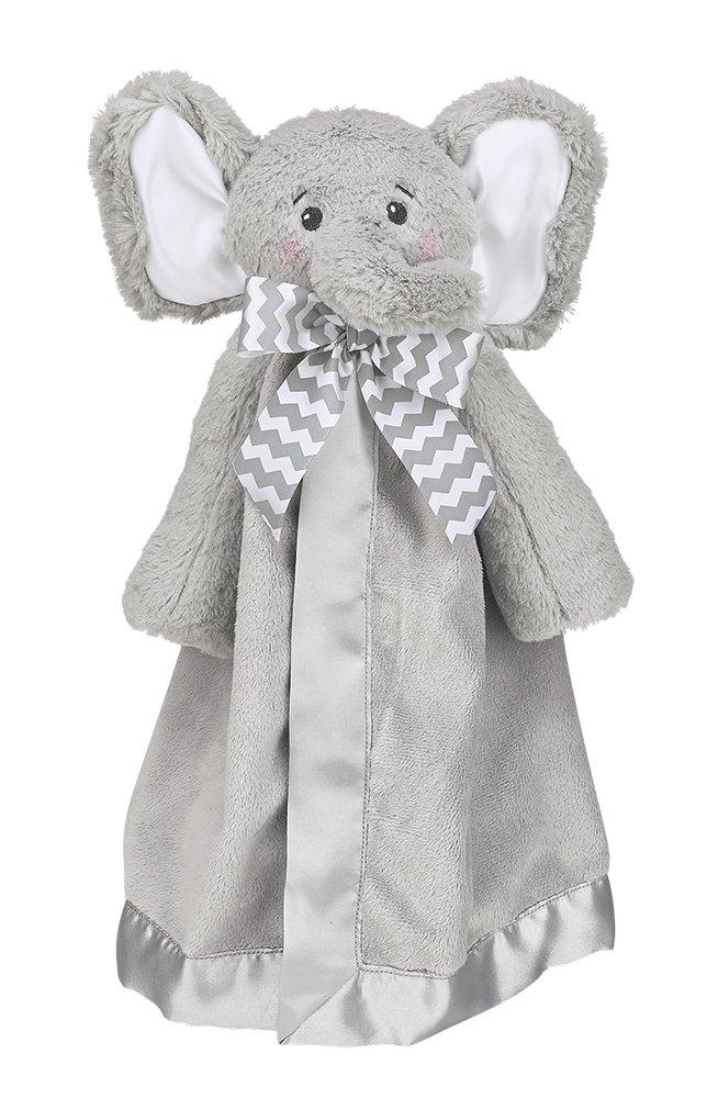 Bearington Baby Lil' Spout Snuggler, Gray Elephant Plush Stuffed Animal Security Blanket, Lovey 15''
