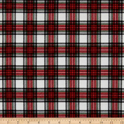 Timeless Treasures Flannel Holiday Plaid Cream Fabric by the Yard