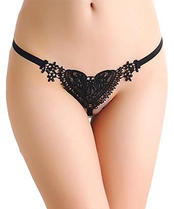 luckyemporia Women Heart Pearl G String Thongs Panties Knickers Underwear  Briefs Lingerie UK (Black) fbe6bcb5e