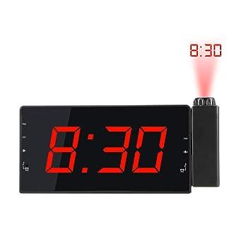 Frontoppy FM Radio Reloj Despertador con Proyector de Alarma Dual, Reloj con 3 Niveles de