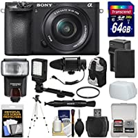 Sony Alpha A6500 4K Wi-Fi Digital Camera & 16-50mm Lens with 64GB Card + Battery & Charger + Case + Tripod + Flash + LED Light + Microphone + Kit