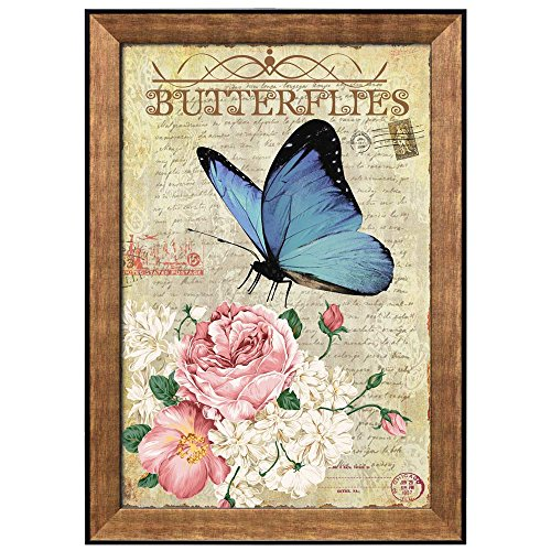 Collage of a Blue Butterfly Sitting on a Bouquet of Flowers Over Paper with Handwriting Framed Art