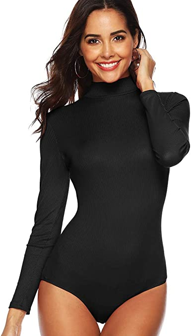 Womens Ladies Round Neck Shiffon Full Sleeve Bodysuit Body Top T Shirt Size 8-14
