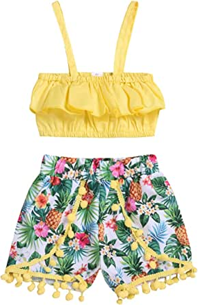 Borlai Toddler Kids Baby Girl Outfit Clothing Ruffled Tank Top + Floral Ball Tassels Shorts Pants 2pcs Set for Infant Girls