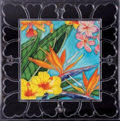 Tropical Flowers - Decorative Ceramic Art Tile on Acrylic Frame - 12