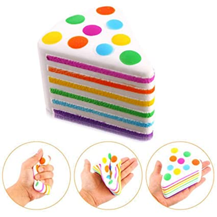 Amazon Com Joykith Stress Reliever Rainbow Cake Squishies Scented