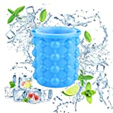 LAWOHO Ice Cube Maker Genie Large Size Silicone Ice Bucket Revolutionary Space Saving