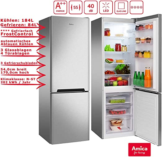 Amica - Refrigerador de acero inoxidable 268L A++ 172 cm de alto ...