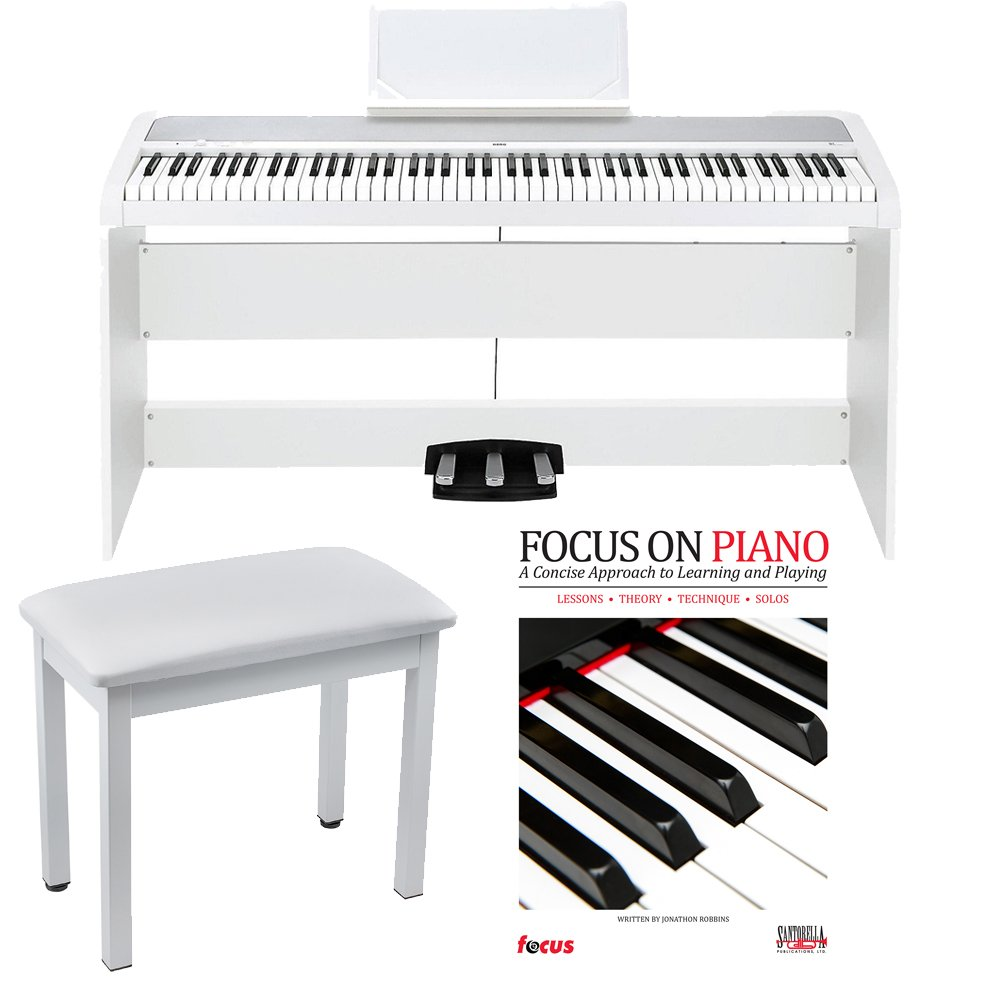 Korg B1SP 88 Weighted Key Digital Piano White with Stand Three Pedal Board Knox Bench and Book